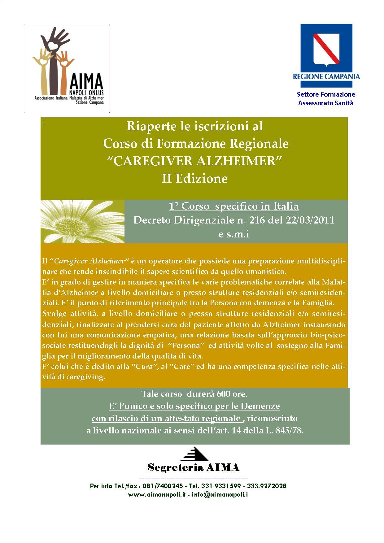 Corso regionale Caregiver Alzheimer