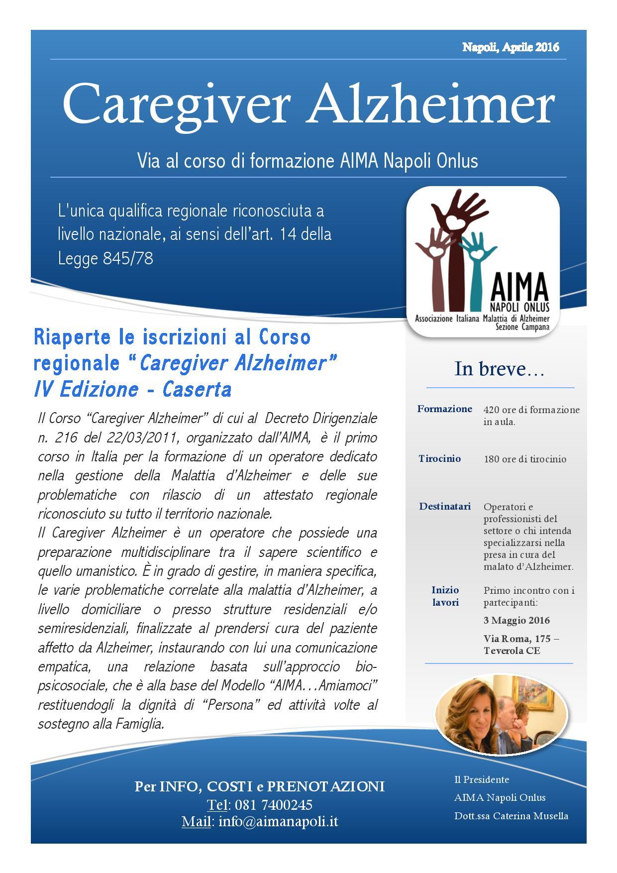 IV Edizione corso regionale Caregiver Alzheimer Aima Napoli Onlus